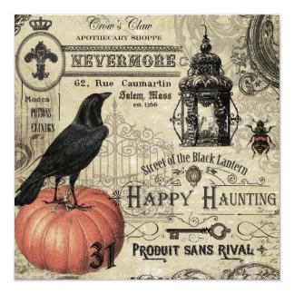 """calabaza y cuervo modernos de Halloween del Invitación 5.25"""" X 5.25"""""""