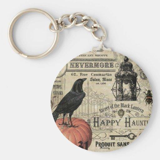 calabaza y cuervo modernos de Halloween del Llavero Personalizado