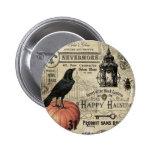 calabaza y cuervo modernos de Halloween del Pin Redondo De 2 Pulgadas