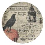 calabaza y cuervo modernos de Halloween del Plato