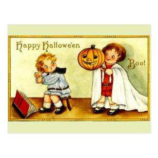 Calabaza y fantasma de Halloween de la imagen del Postal