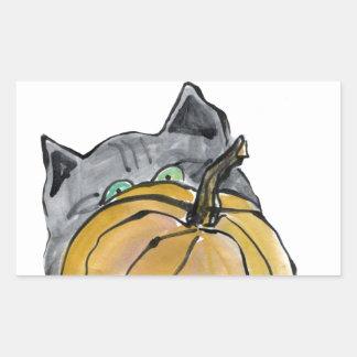 Calabaza y gatito gris, Sumi-e Pegatina Rectangular