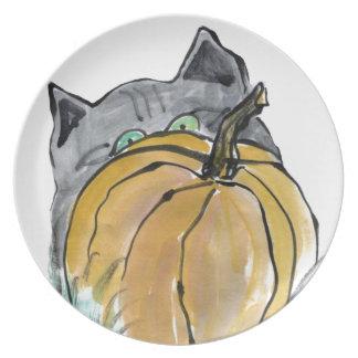 Calabaza y gatito gris, Sumi-e Platos De Comidas