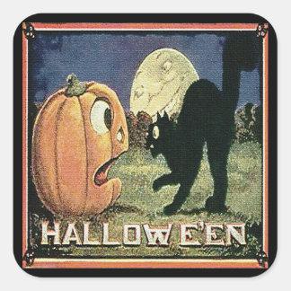 Calabaza y gato de Halloween del vintage en mosaic Pegatinas Cuadradas Personalizadas