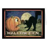Calabaza y gato de Halloween del vintage en mosaic Felicitación