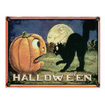 Calabaza y gato de Halloween del vintage en mosaic Postal