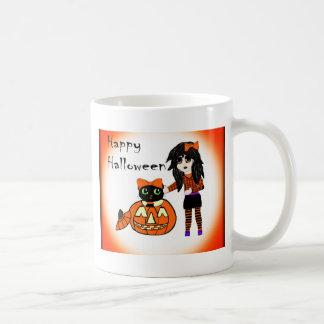 Calabaza y gato de Halloween Taza
