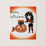Calabaza y gato de Halloween Rompecabezas