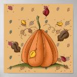 calabaza y hojas de otoño impresiones