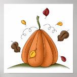 calabaza y hojas de otoño poster