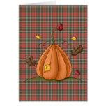 calabaza y hojas de otoño tarjeta de felicitación
