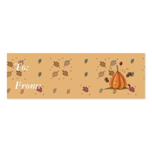 calabaza y hojas de otoño tarjetas de visita mini