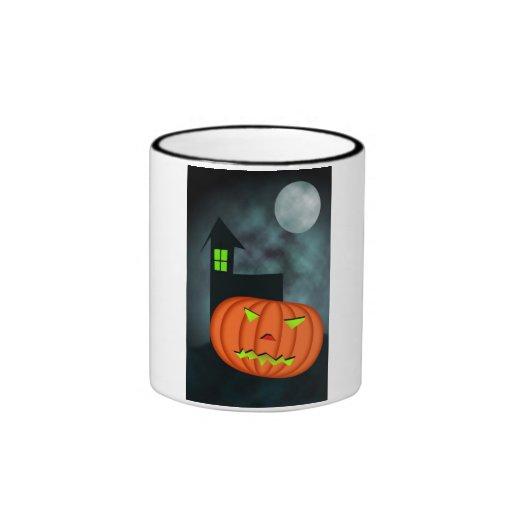 Calabaza y luna de Halloween Taza A Dos Colores