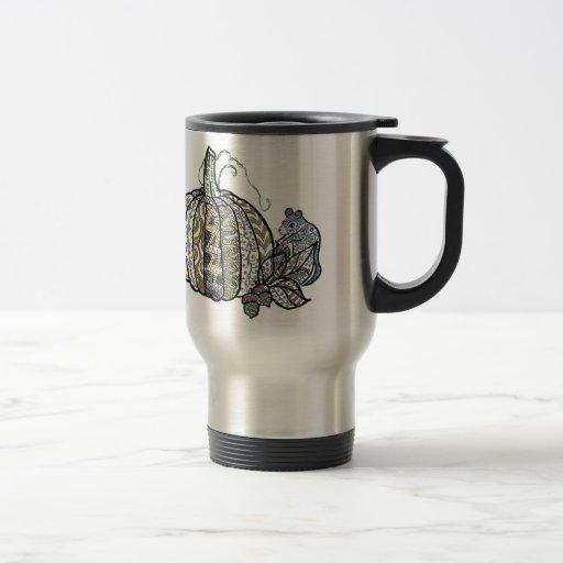 Calabaza y ratón - diseño de la pluma y de la tint tazas de café
