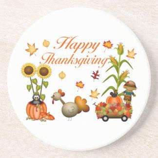 Calabaza y Turquía felices de las hojas de otoño d Posavasos Manualidades