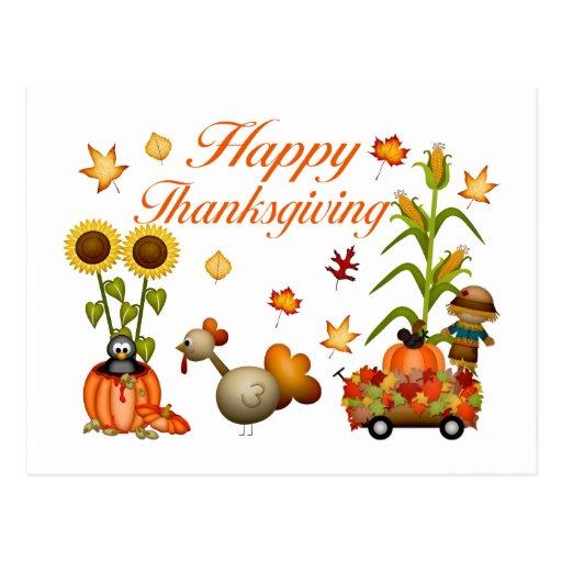 Calabaza y Turquía felices de las hojas de otoño d Tarjetas Postales