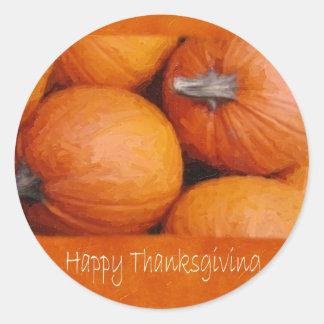 Calabazas 3 de Halloween - acción de gracias feliz Etiqueta