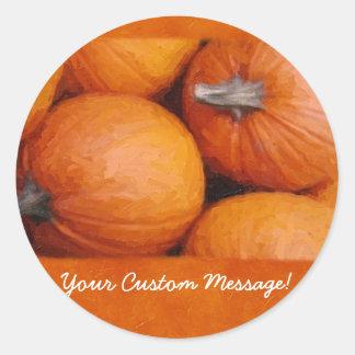 Calabazas 3 de Halloween Etiquetas Redondas