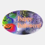 Calabazas apiladas de Halloween en arte del Gimp Pegatina Oval Personalizadas