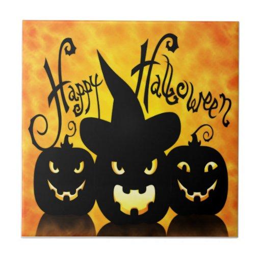 Calabazas asustadizas de Halloween Azulejo Cuadrado Pequeño