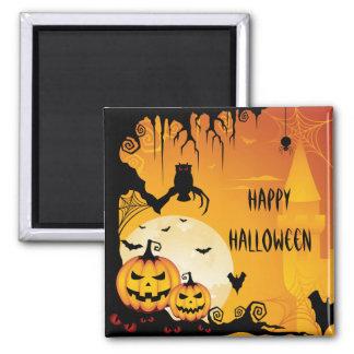 Calabazas asustadizas de Halloween y Luna Llena Imán Cuadrado