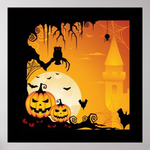Calabazas asustadizas de Halloween y Luna Llena Impresiones