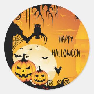 Calabazas asustadizas de Halloween y Luna Llena Pegatina Redonda