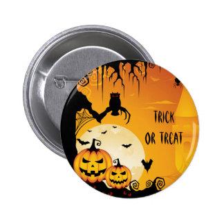 Calabazas asustadizas de Halloween y Luna Llena Pin Redondo De 2 Pulgadas