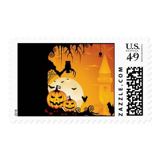 Calabazas asustadizas de Halloween y Luna Llena Sello