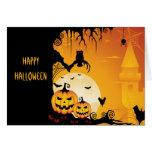 Calabazas asustadizas de Halloween y Luna Llena Felicitacion