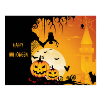 Calabazas asustadizas de Halloween y Luna Llena Tarjetas Postales