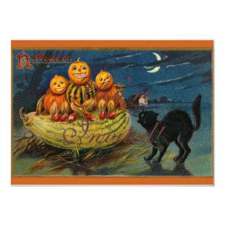 Calabazas asustadizas del gato negro del fiesta de invitación 11,4 x 15,8 cm