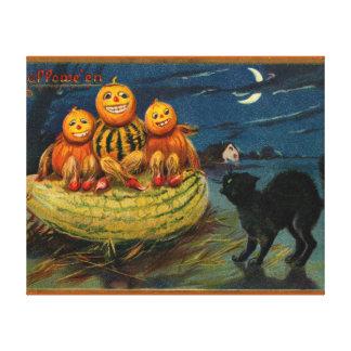 Calabazas asustadizas del gato negro del fiesta de lona envuelta para galerias