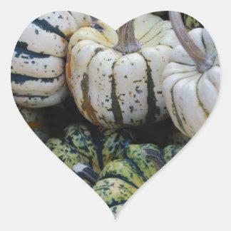 Calabazas, calabazas, cosecha de la caída pegatina en forma de corazón