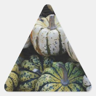 Calabazas, calabazas, cosecha de la caída pegatina triangular