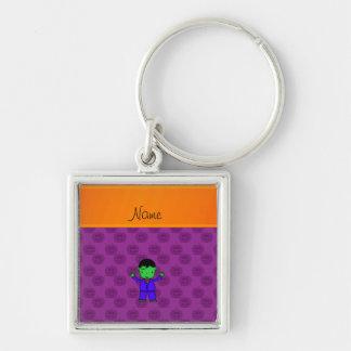 Calabazas conocidas personalizadas de la púrpura llavero cuadrado plateado