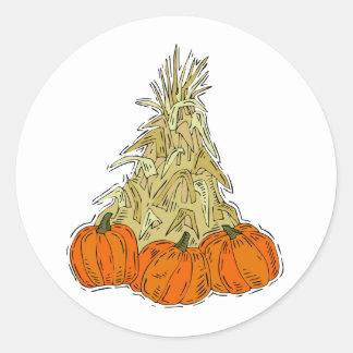 Calabazas de Cornstalks del otoño Pegatina Redonda