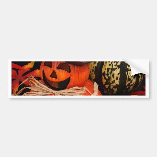 Calabazas de Halloween del otoño y hojas de la caí Pegatina Para Auto
