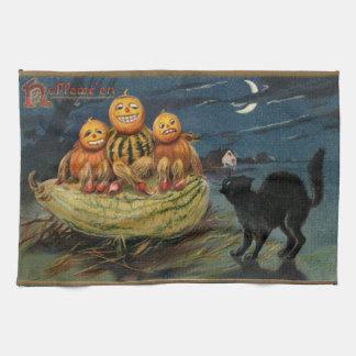 Calabazas de Halloween del vintage Toallas De Cocina