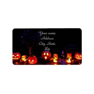 Calabazas de Halloween Etiqueta De Dirección