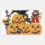 Calabazas de Halloween, pájaros negros y perro del Pegatinas