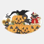 Calabazas de Halloween, pájaros negros y perro del Colcomanias De Oval