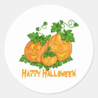 Calabazas de Halloween Etiqueta Redonda