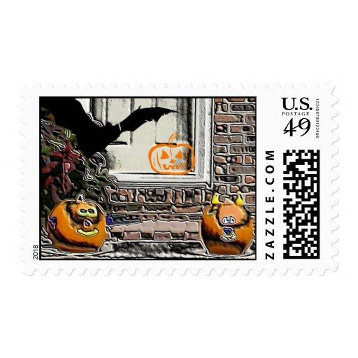 Calabazas de Halloween y franqueo del palo