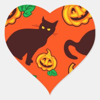 Calabazas de Halloween y gato negro Pegatina En Forma De Corazón