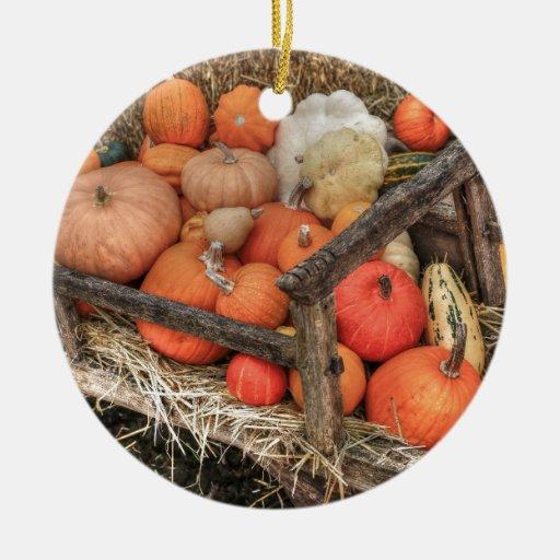 Calabazas de la generosidad adorno navideño redondo de cerámica