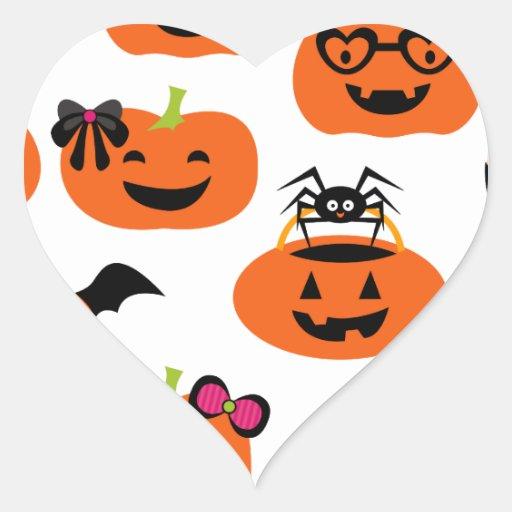 Calabazas de la linterna de Halloween Jack O Colcomanias De Corazon