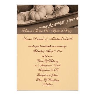 Calabazas de la sepia en la invitación del boda de