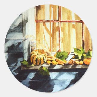 Calabazas de otoño pegatina redonda