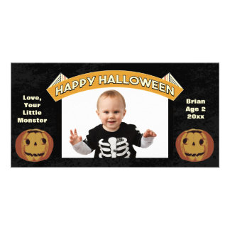 Calabazas del feliz Halloween del vintage Tarjetas Fotograficas